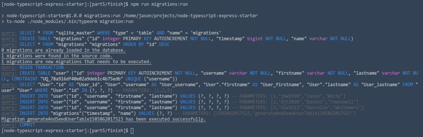 TypeORM migration run output